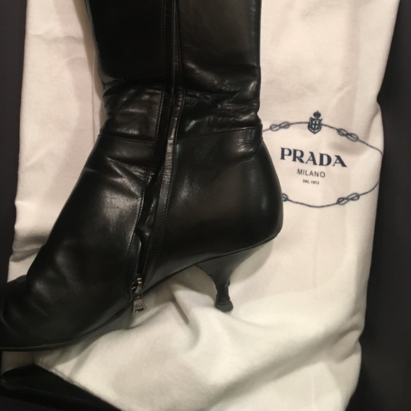 9d10509083ee Prada Shoes | Black Leather High Heel Boots With Buckle | Poshmark
